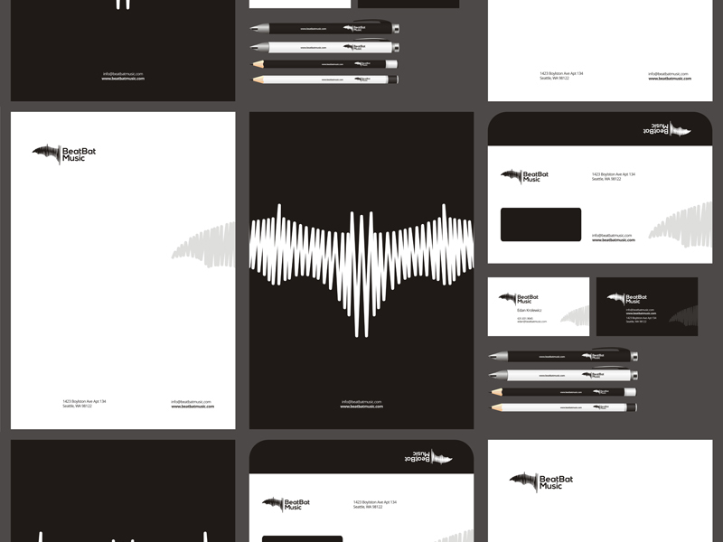 Beat Bat Music Logo and stationery design package, identity design by Alex Tass