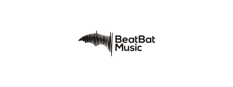 Beat Bat Music, sound wave in the shape of a bat wing, logo design by Alex Tass