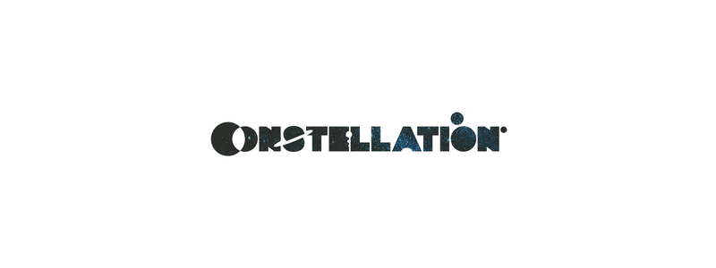 Constellation, planets, stars, space, custom word mark logotype logo design by Alex Tass