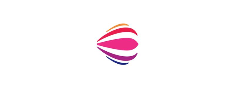 E for events, hot air balloon, smile, logo design symbol by Alex Tass