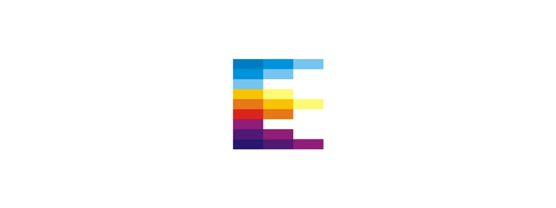 E letter mark events, schedule calendar, crown, colorful logo icon by Alex Tass