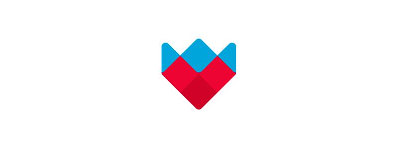 Heart, crown, flower, logo design symbol by Alex Tass