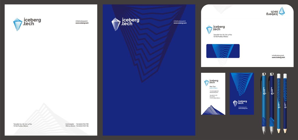 Iceberg Tech logo, stationery, identity design by Alex Tass