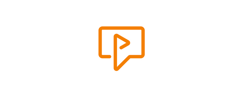 P letter, video play + chat bubble, logo design symbol mark icon by Alex Tass