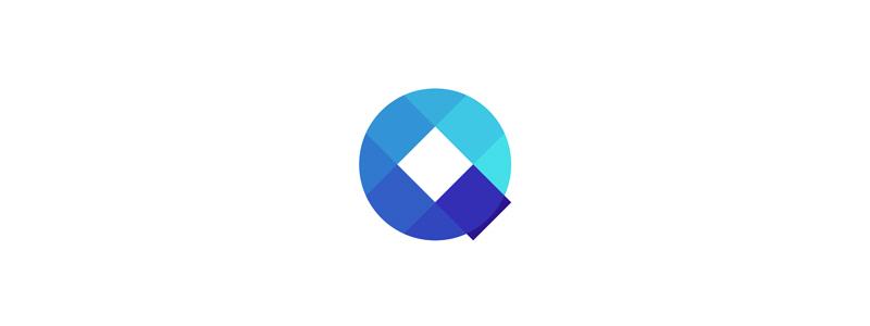 Q letter mark circle squares logo design symbol mark icon by Alex Tass