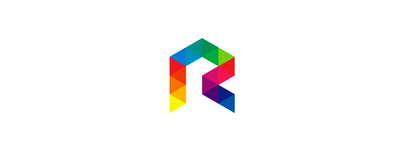 R colorful geometric letter mark logo design symbol icon by Alex Tass