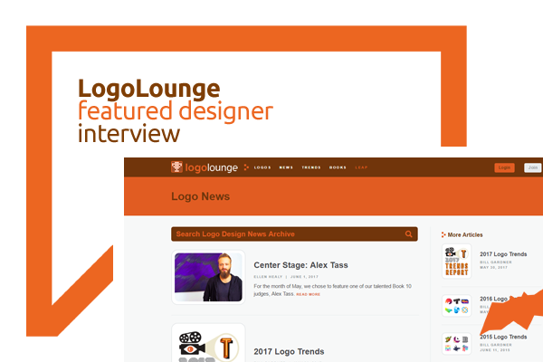 LogoLounge featured designer interview, center stage Alex Tass