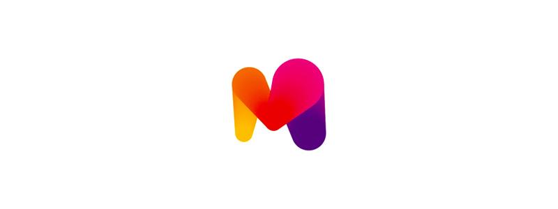 Colorful M heart letter mark logo design symbol by Alex Tass