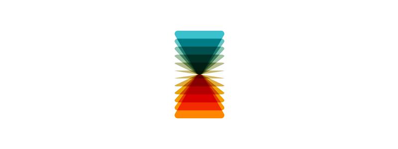 VA flipping geometric monogram hourglass logo design symbol by Alex Tass
