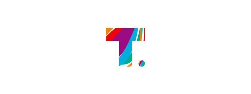 T traveling agency colorful letter mark logo design symbol by Alex Tass