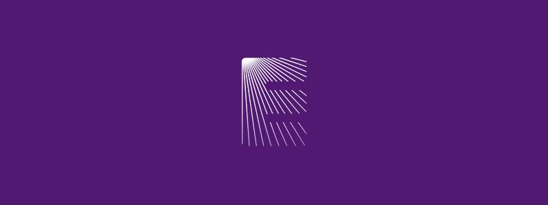 E letter mark light rays logo design symbol by Alex Tass