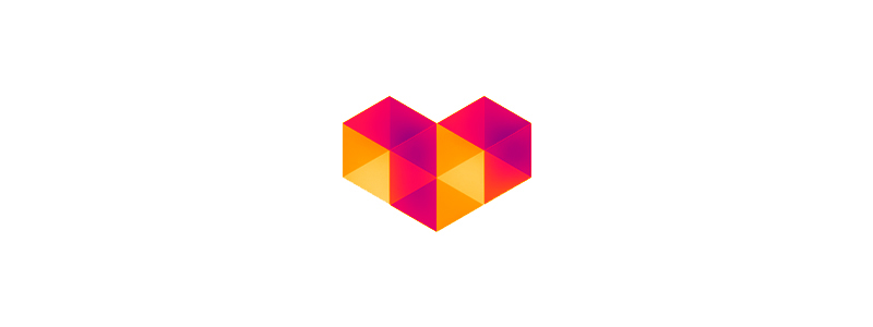 Digital love geometric heart logo design symbol by Alex Tass