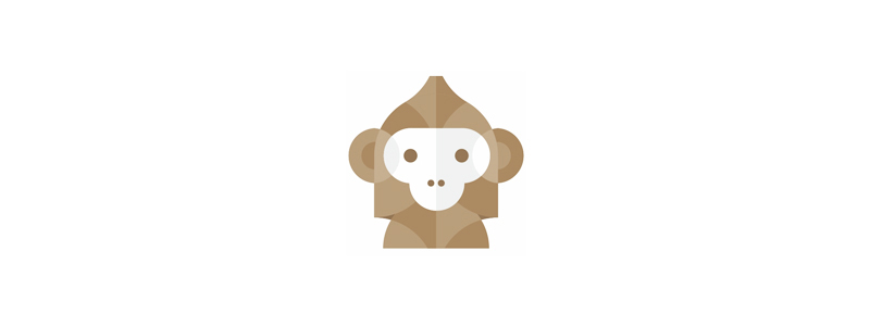 Geometric abstract monkey logo design symbol by Alex Tass