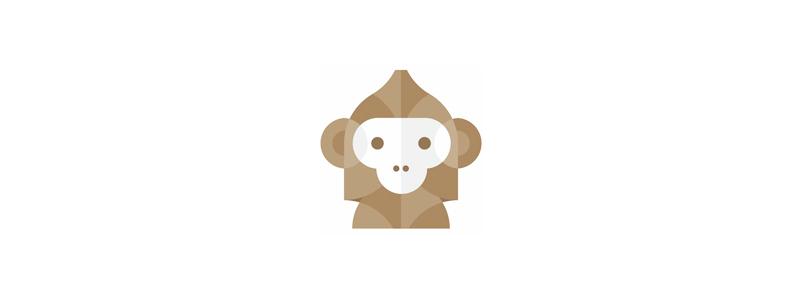 Geometric abstract monkey logo design symbol by Alex Tass