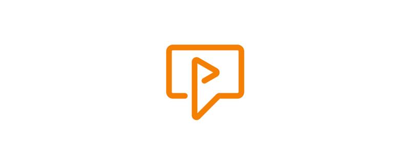 Video play speech chat bubble icon logo design symbol by Alex Tass