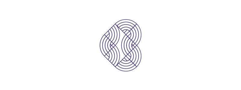 B blue geometric letter heart logo design symbol by Alex Tass