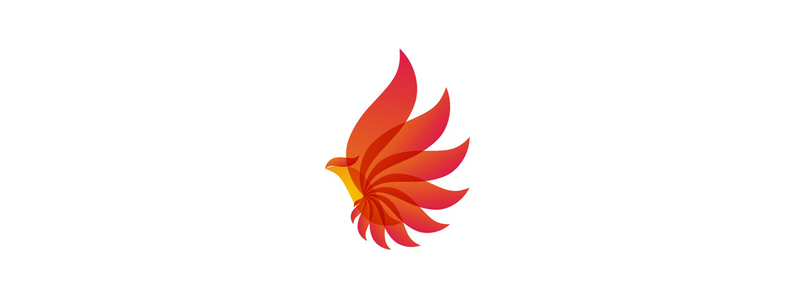 Phoenix alternative energy wild bird logo design symbol by Alex Tass