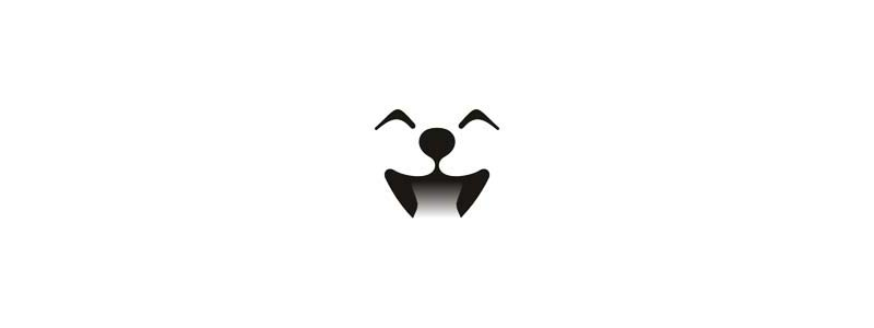 Cute dog smiling happy logo design symbol by Alex Tass