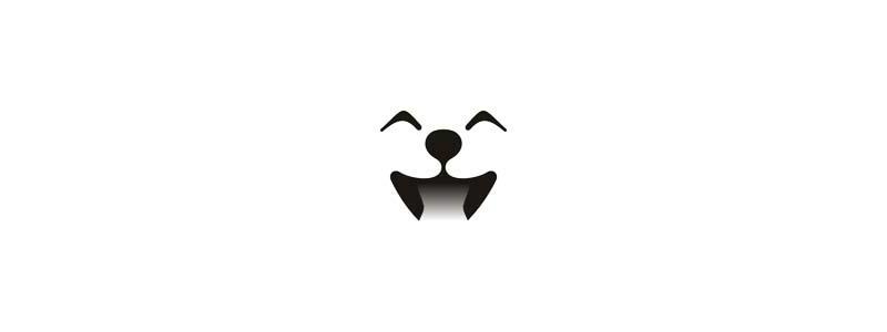 Cute dog smiling happy logo design symbol by Alex Tass