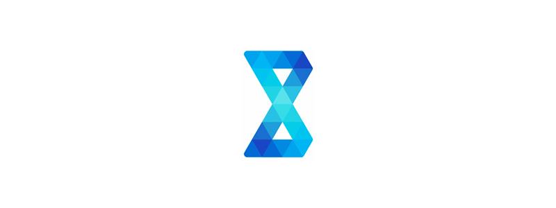 B letter mark geometric triangles loop logo design by Alex Tass