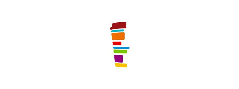 Colorful cup stripes logo design symbol by Alex Tass