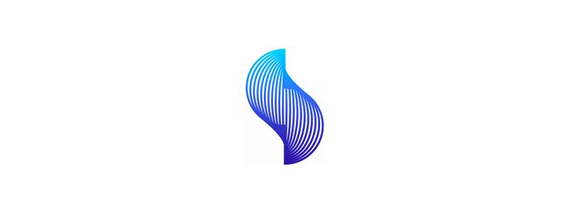 S warping lines letter mark logo design by Alex Tass