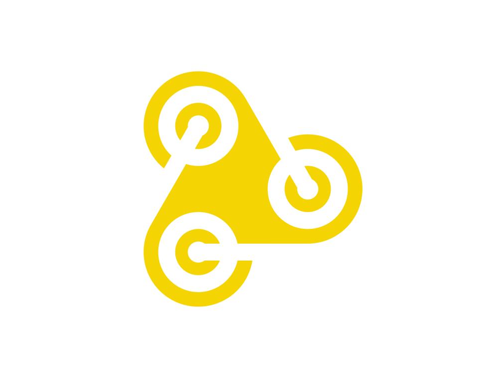 3 wheel media wheels negative space play icon logo design by Alex Tass