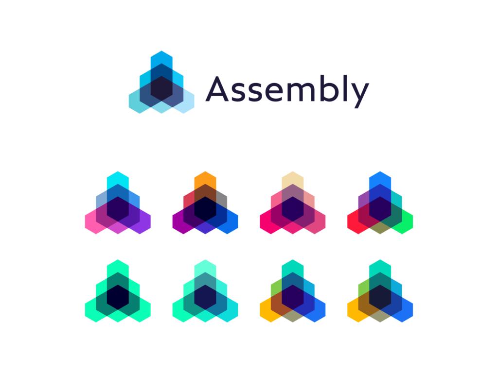 Assembly, open source technology framework protocol colorful logo design by Alex Tass