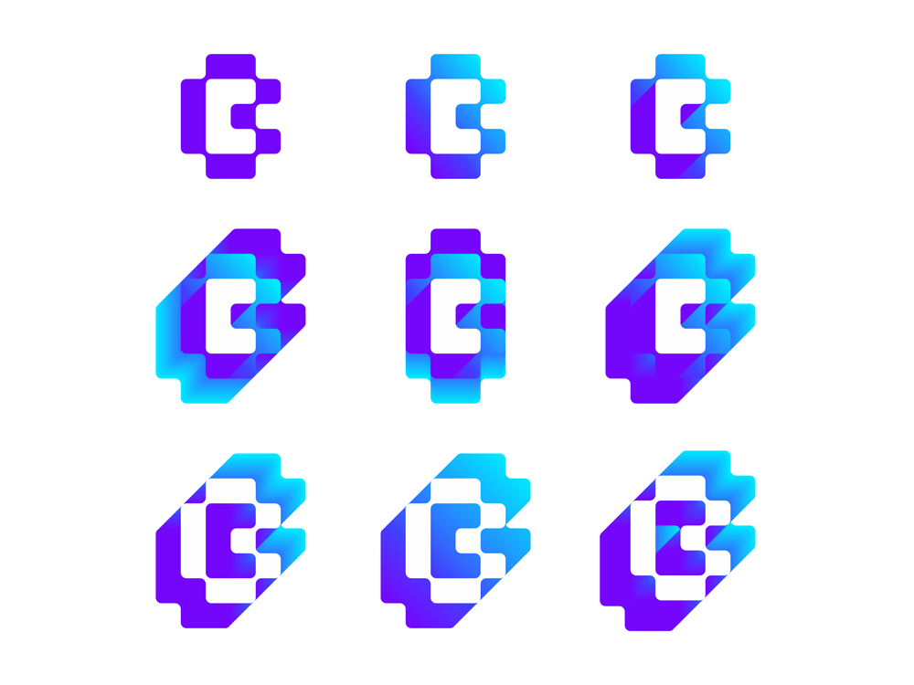 CB BC monogram explorations negative space logo design by Alex Tass