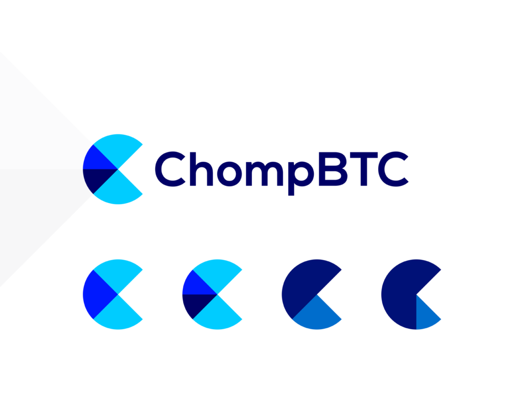 Chomp BTC bitcoin crypto pacman bite logo design by Alex Tass
