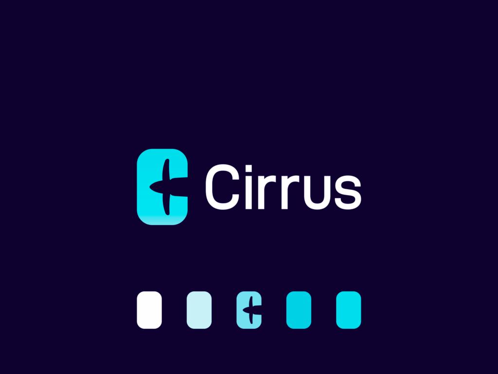 Cirrus airplane propeller negative space C letter logo design by Alex Tass