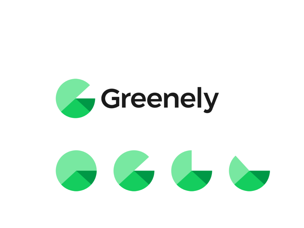 Greenely green energy G letter house roof graphic chart logo design by Alex Tass