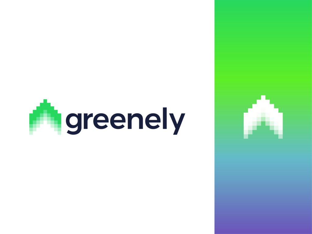 Greenely smart electricity house home aurora borealis northern lights logo design by Alex Tass