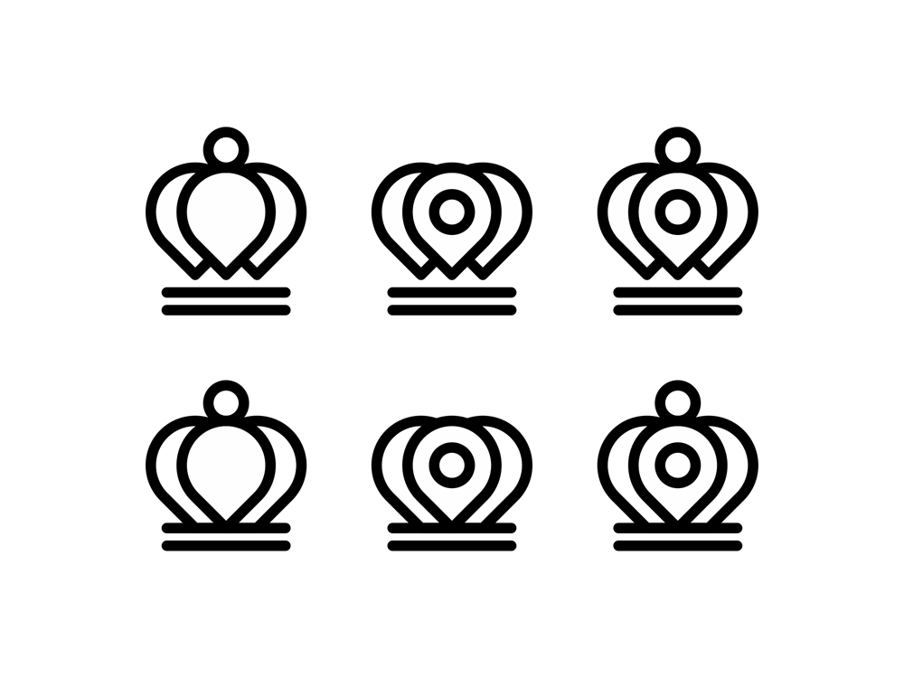 Location map pin pointers crowns icon logo design symbol by Alex Tass