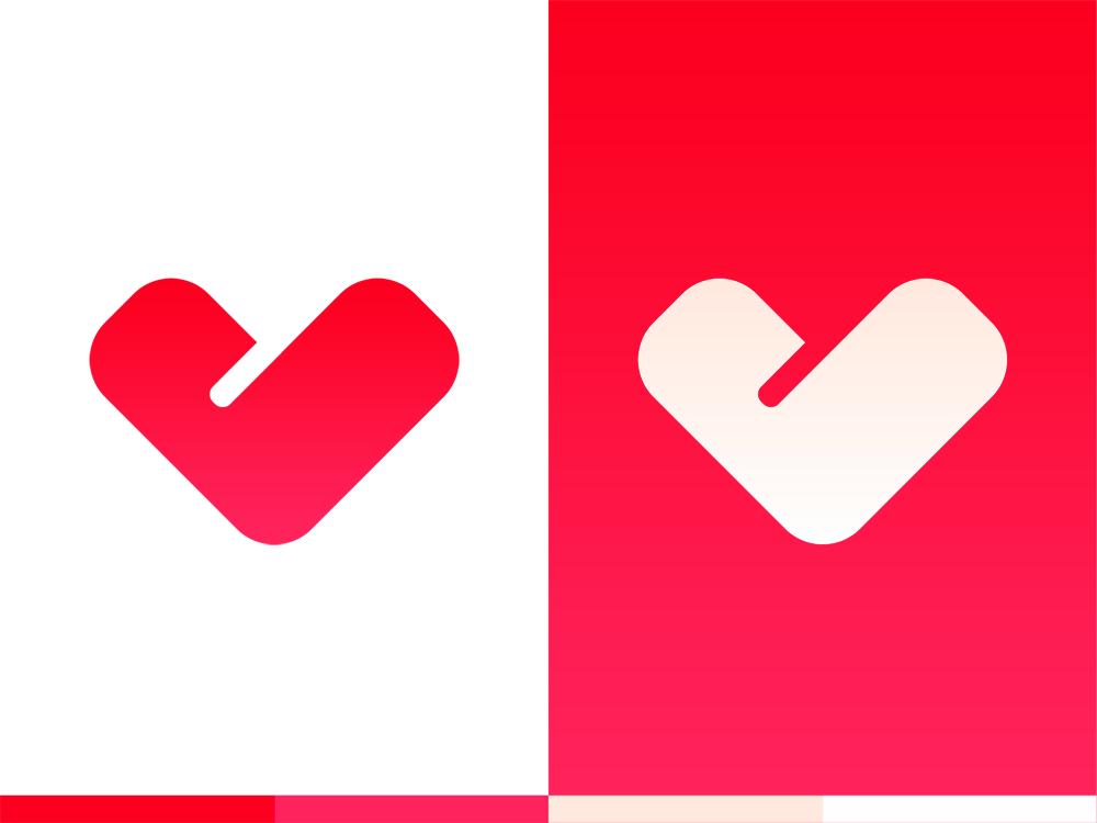 Love, Valentine L V heart letter mark monogram Valentines logo design by Alex Tass