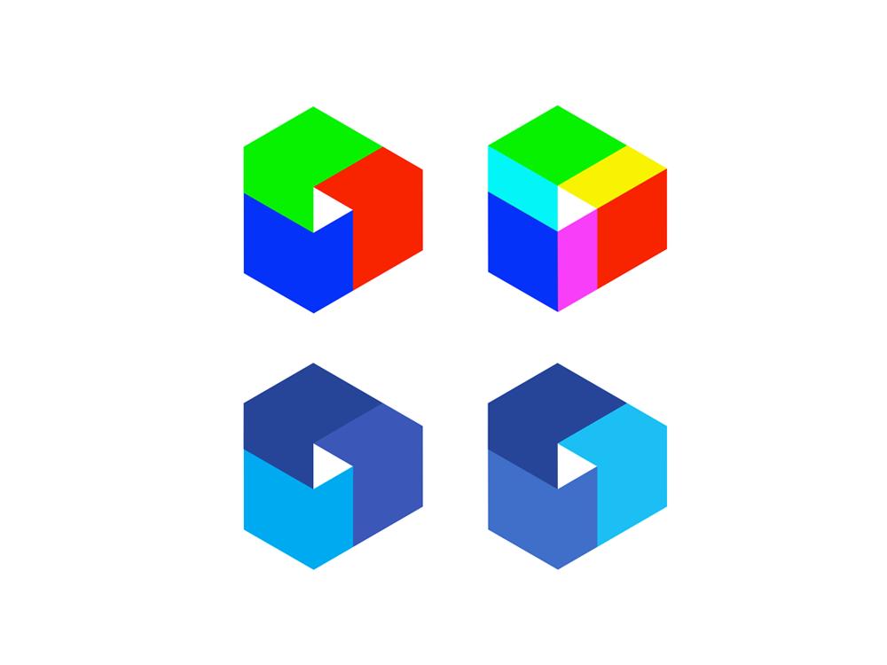 Multimedia modular RGB play icon check mark logo design by Alex Tass