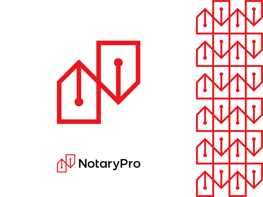 Notary Pro N letter pen tips corporate pattern logo design by Alex Tass