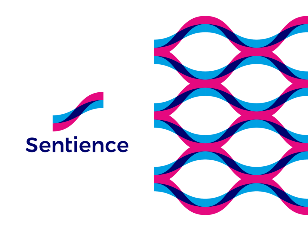 Sentience, logo design for machine learning translation app corporate pattern by Alex Tass