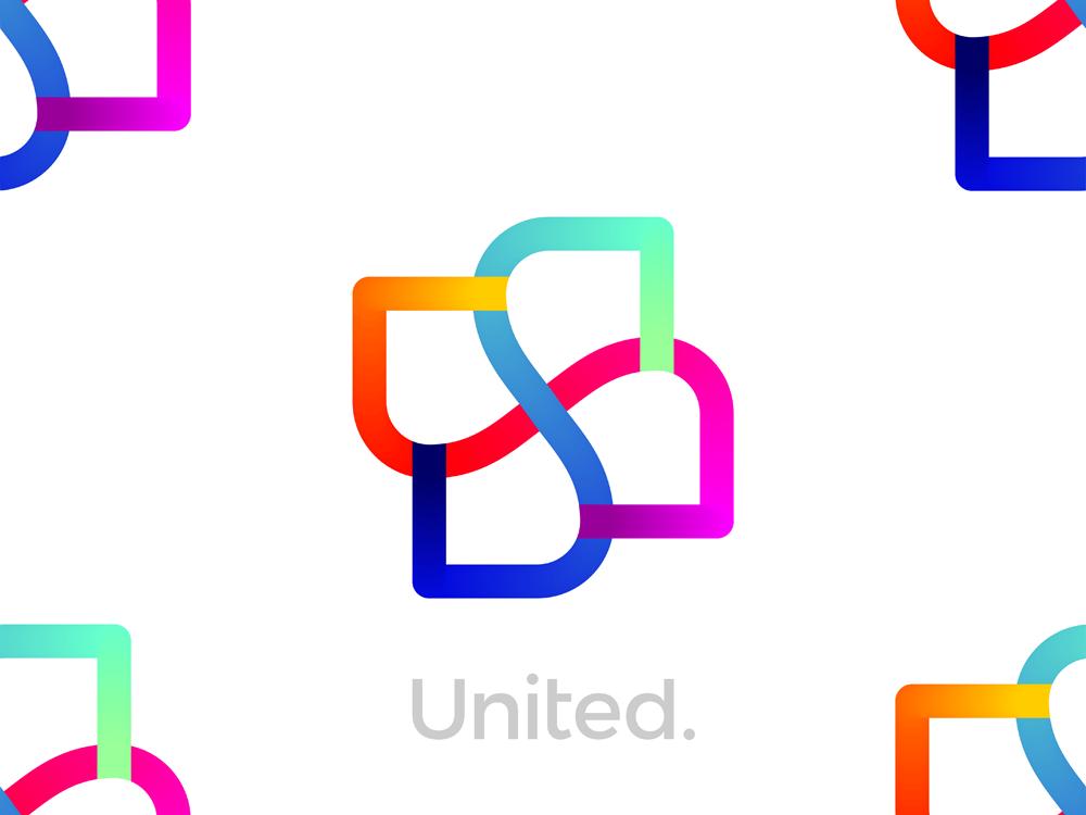 United USA ambigram monogram logo design by Alex Tass