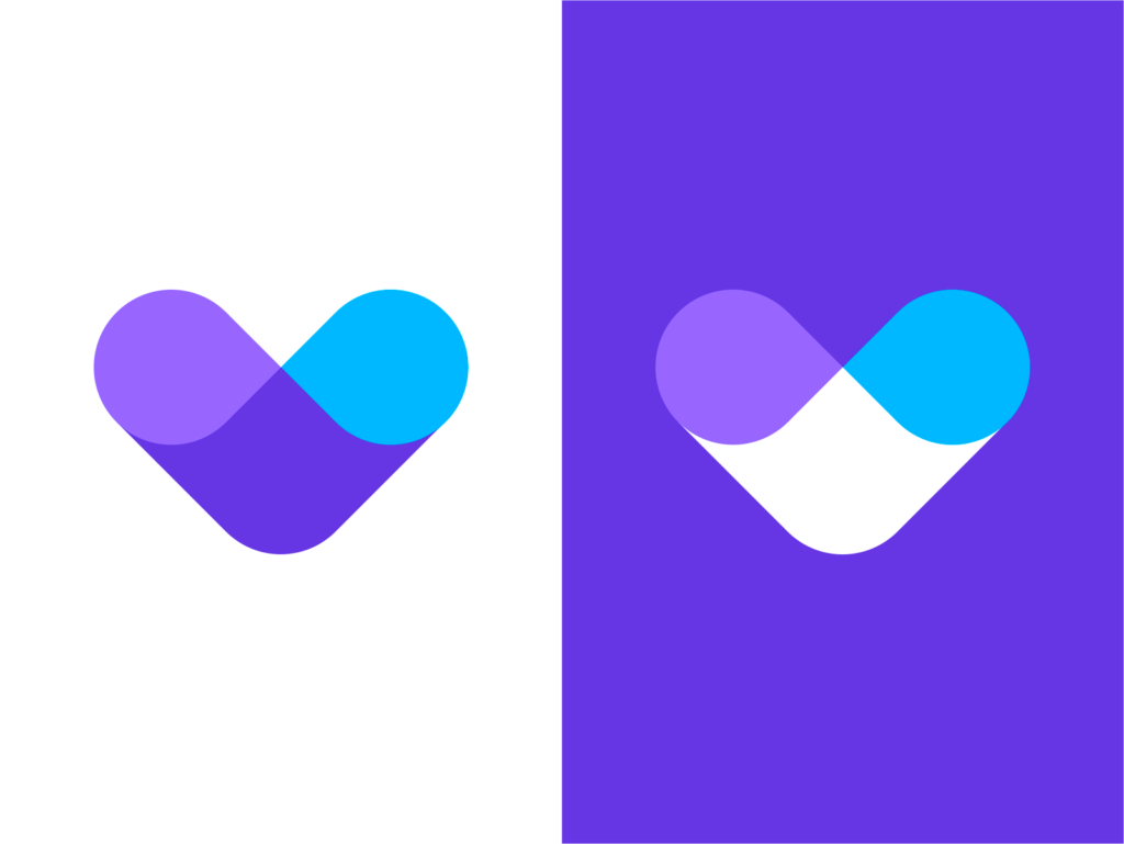 Vast Conference calls V connecting communicating people logo design by Alex Tass