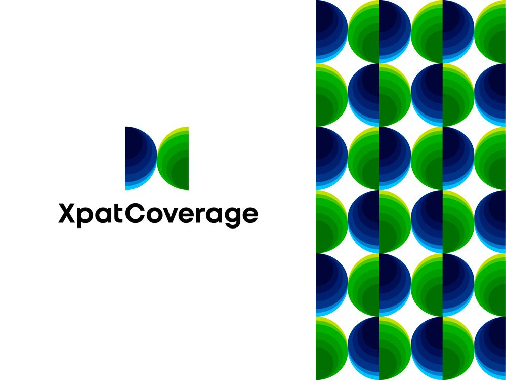 Xpat Coverage XC globe people full medical insurance for expatriates logo design by Alex Tass
