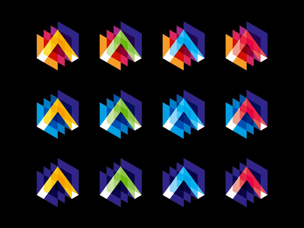 A letter mark in 3D scanning imagery, logo design symbol