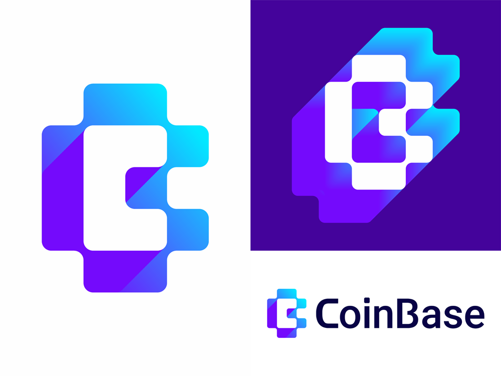 Coin base crypto coins bitcoin currency logo design by Alex Tass