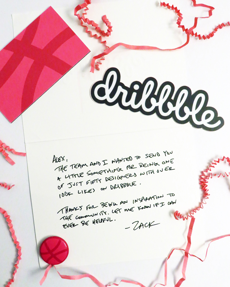 100k Club on Dribbble congratulations letter