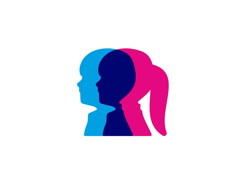 Children in genetics research program logo design symbol by Alex Tass