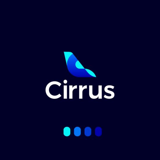 Cirrus aviation flights pricing deep learning ai logo identity design by Alex Tass
