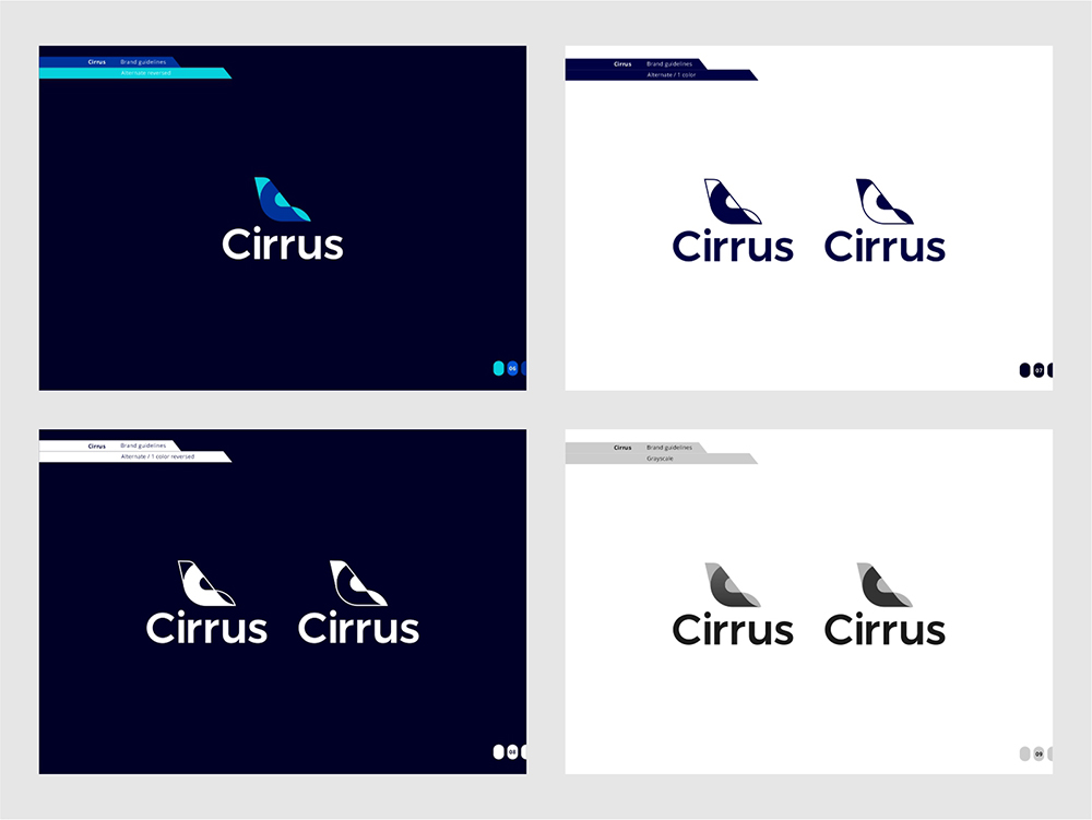 Cirrus brand manual guidelines for flights ticketing ai by Alex Tass simplified logo variation