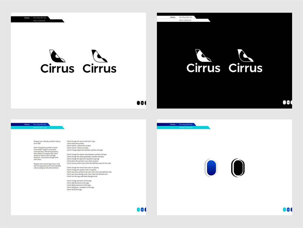 Cirrus brand manual guidelines for flights ticketing ai by Alex Tass black and white logo variations