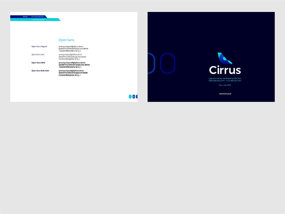 Cirrus brand manual guidelines for flights ticketing ai by Alex Tass corporate typeface