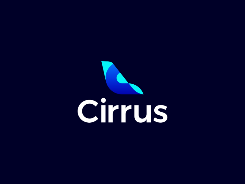Cirrus flights ticketing ai C letter mark airplane tail fin logo design by Alex Tass
